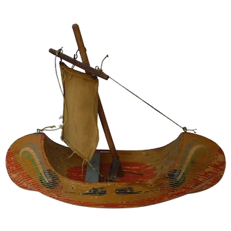 Folk Art Hand Crafted and Painted Wood Toy Boat