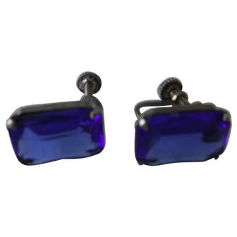Mid-Century CORO Earrings - Faux Sapphire and Sterling