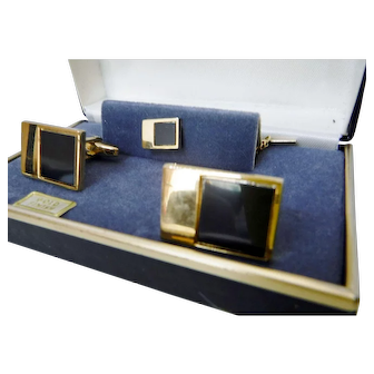 Vintage Black Onyx Cuff Links & Tie Pin by Fosters