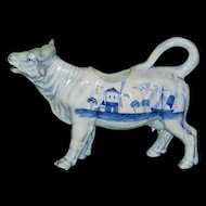 Antique Blue and White Cow Creamer