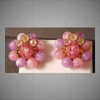 West German Pink and Lavender Bead Cluster Earrings
