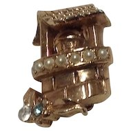 Tiny wishing well scatter pin with seed pearls and rhinestones