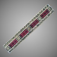 Rhinestone and Silver Tone Bar Pin with Channel Set Pink Stones