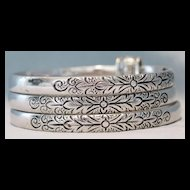 Whiting and Davis Silver Tone Triple Bangle Bracelet