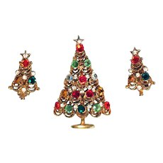 Elegant Jewelled Christmas Tree Pin and Earring Set