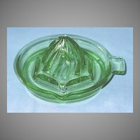 Green Depression Glass Tab Handled Reamer