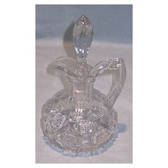 Early American Pattern Glass Cruet Checkerboard Pattern