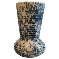 Old Stoneware Vase with Blue and White Sponge pattern Illinois Potteries