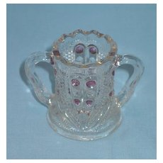 Blazing Heart Two-Handled Toothpick Holder  with Cranberry Stain