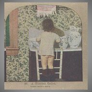 "Griffith and Griffith Color Stereo View Card ""A Hurried Toilet"""