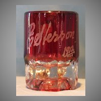 Ruby Stained Miniature Mug  E. Herron 1912