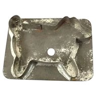 Primitive tin flat back dog cookie cutter with C-handle