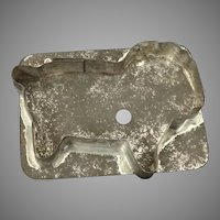 Primitive tin flat back lion or buffalo  cookie cutter with C-handle