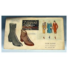 Zippers Boots by Goodrich  Advertising Blotter