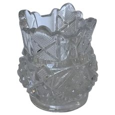 EAPG Sunbeam pattern toothpick holder, McKee Glass c1898