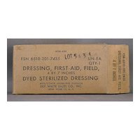 Unopened First Aid Field Dressing Dyed Sterilized 4 X 7 inches