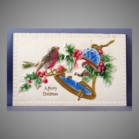 Merry Christmas Air-Brushed, High Relief Post Card