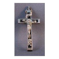 Ebony and White Metal Crucifix