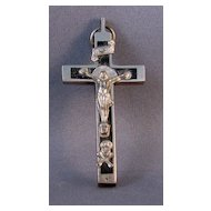 Ebony and White Metal Crucifix