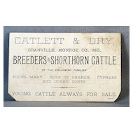 Catlett and Dry Cattle Breeders Advertising Card