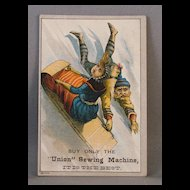 Union Sewing Machine Trade Card Winter Sledding