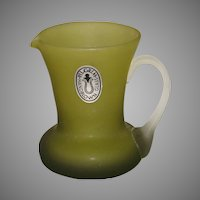 Pilgrim Glass Olive Satin Glass Pitcher
