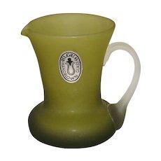 Pilgrim Glass Olive Satin Glass Pitcher