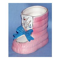 Hand painted baby shoe planter Japan