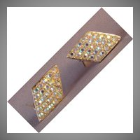 Emmons Aurora Borealis rhinestone clip earrings