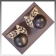 White metal and smoky gray earrings