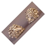 Brilliant rhinestone shield shaped earrings with clip backs