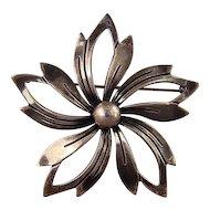N E From signed Sterling Silver flower pin Denmark
