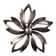 N E From signed Sterling Silver flower pin Denmark