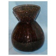 Brown crackle glass vase