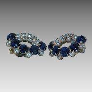 Sparkling blue rhinestone clip earrings