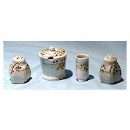 4 piece hand painted table set Japan