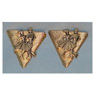 Gold tone collar points Western square dance motif