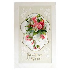 Unused New Year Wishes with add-ons of silk with sweet peas Printed in Germany