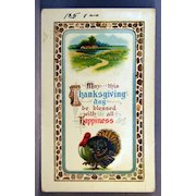 Thanksgiving Happiness  Advertising card for Zercher Postcard Co. Topeka Kansas
