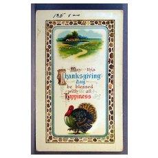 Thanksgiving Happiness  Advertising card for Zercher Postcard Co. Topeka Kansas