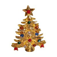 Eisenberg Ice Christmas tree pin with multicolored rhinestones