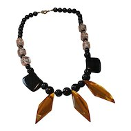 Black and gold Lucite Necklace