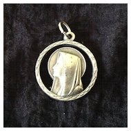Incised silvertone metal charm Our Lady of Lourdes marked Italy