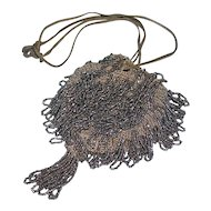 Small crocheted reticule with shiny gun metal gray looped beads