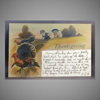 1906 Thanksgiving postcard undivided back and glitter embellishment