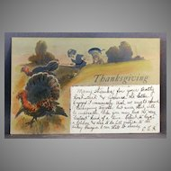 1906 Thanksgiving postcard undivided back and glitter embellishment