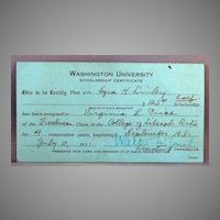 1931 Scholarship certificate to Washington University , St. Louis Missouri, College of Liberal Arts