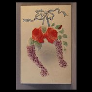 Heartiest Congratulations with flocked roses and hand colored ribbon
