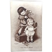 """1907 Unused comic postcard """"Won't Mama be pleased."""""""