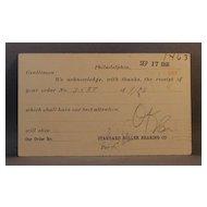 1906 Postcard order receipt from Standard Roller Bearing Co